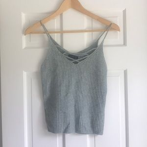 knit tank with criss cross